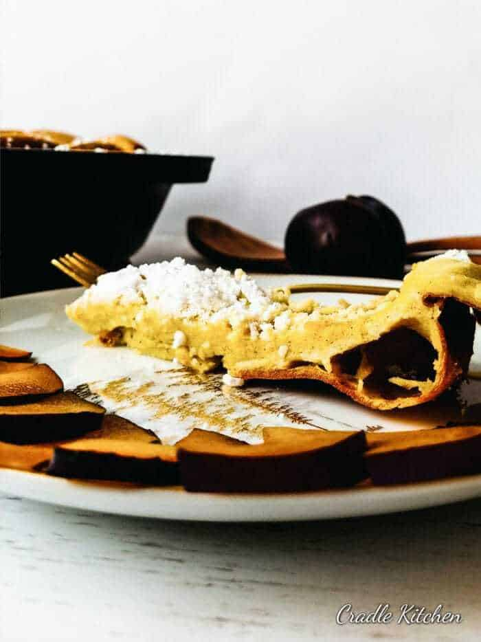 Skillet Dutch Baby easy and fast recipe.  Made either sweet or savory.  Delicious breakfast german pancake.