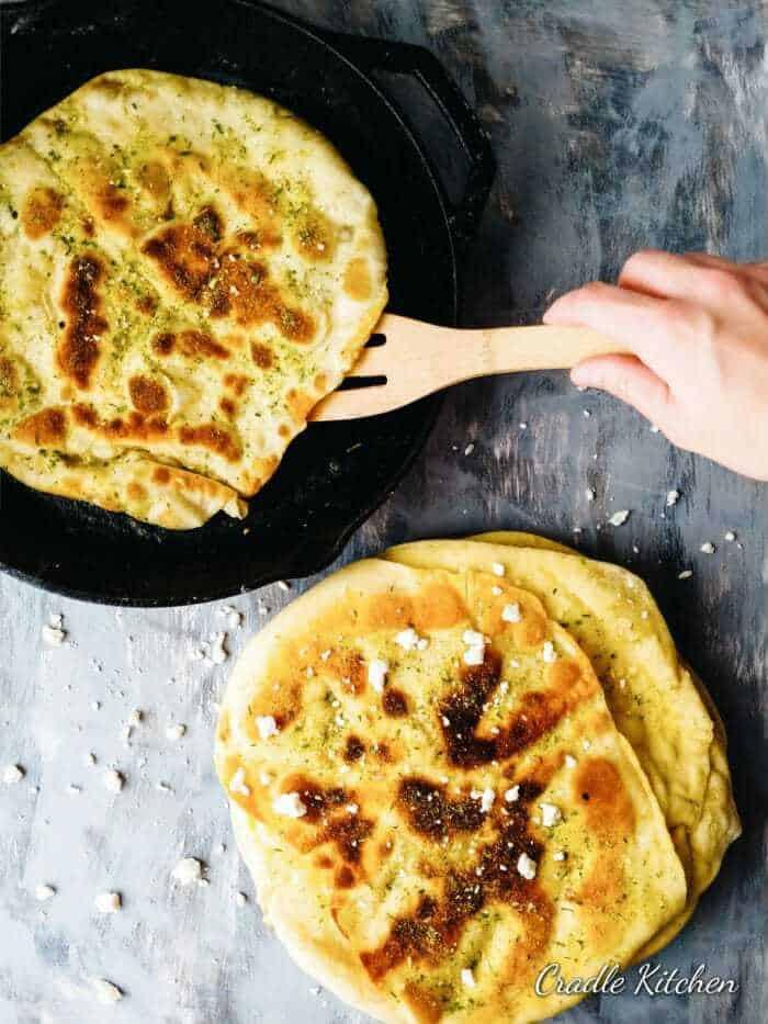 easy buttermilk naan bread frying