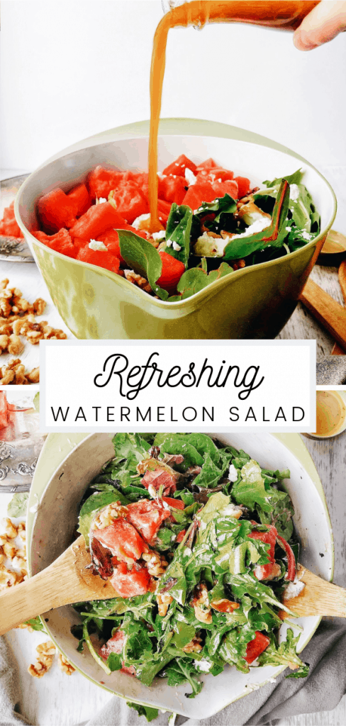 Watermelon goat cheese salad with red wine vinaigrette