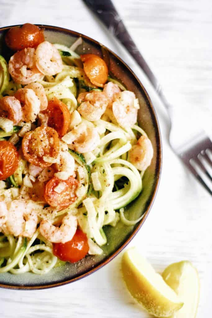 close up of zucchini noodles in a bowl