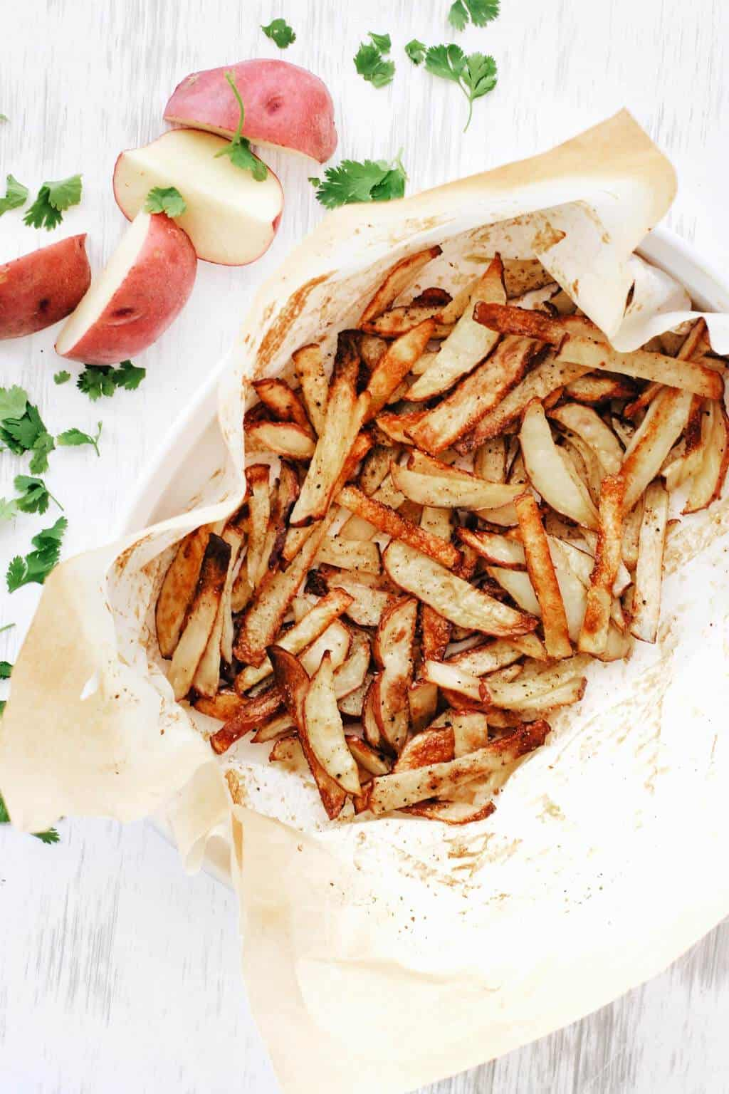 Crispy oven baked french fries with salt and vinegar
