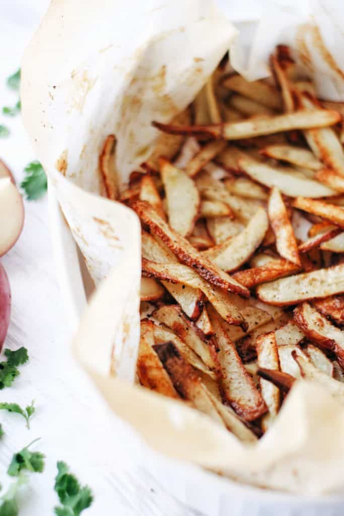 close up of crispy baked french fries