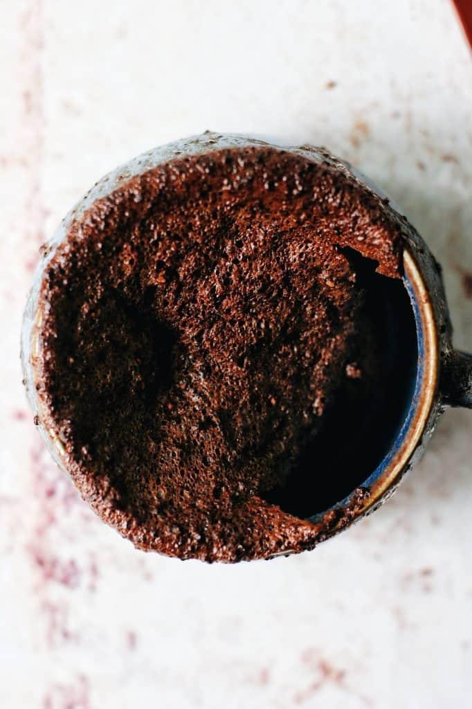 close up of dense fudge chocolate mug cake