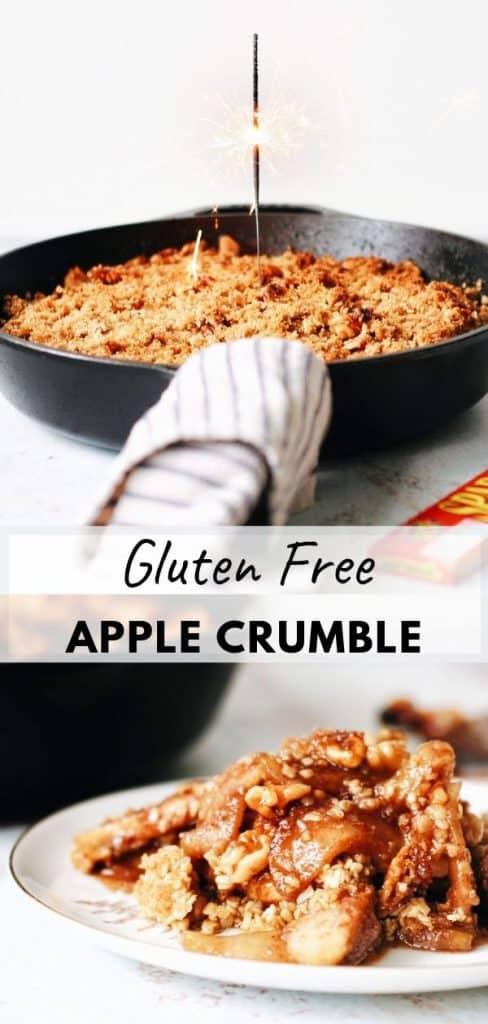 pinterest pin skillet gluten free apple crumble