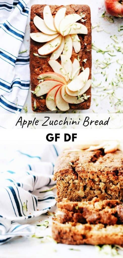 pinterest pin for gluten free apple bread with zucchini