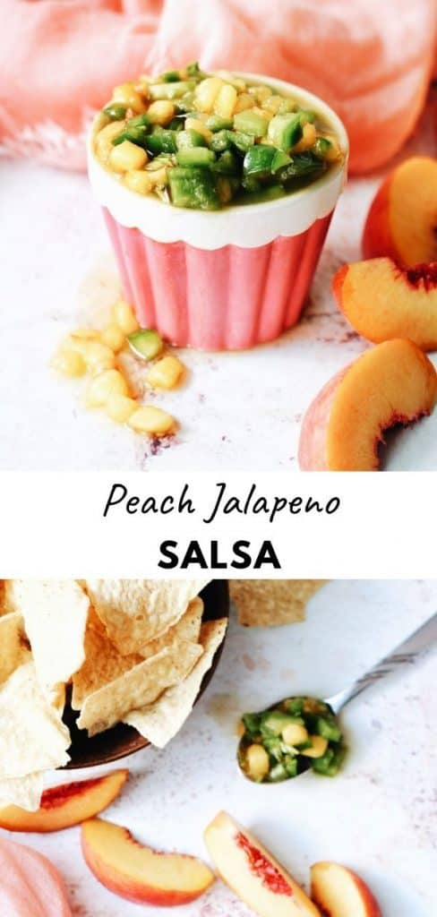 This is such a yummy peach salsa recipe! With bell peppers and jalapeno for an added spicy kick.  So easy and quick to make and great on everything from chicken and pork to fish and tacos, or just with some tortilla chips!