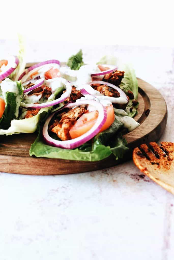 close up of easy chicken gyros