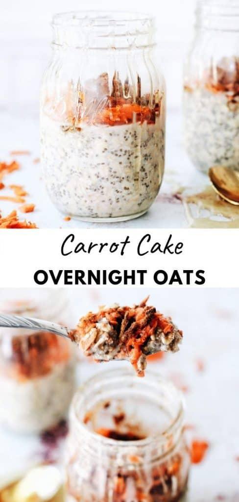 pinterest pin for carrot cake overnight oats