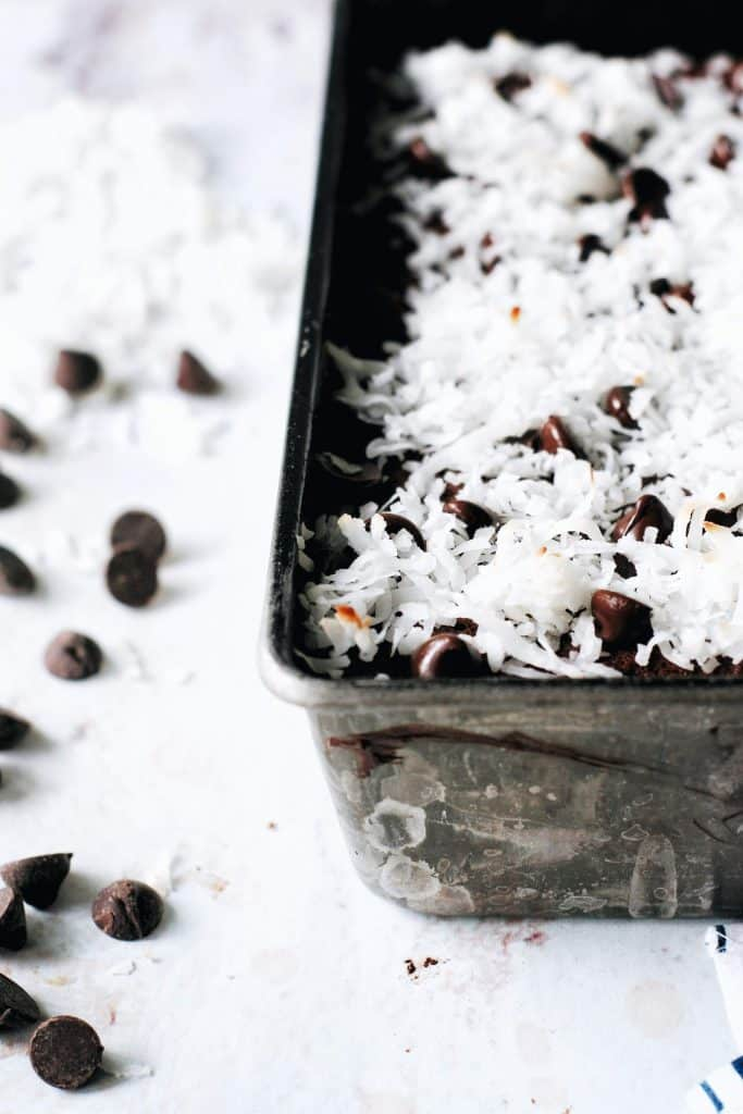 close up of the coconut on top of chocolate loaf