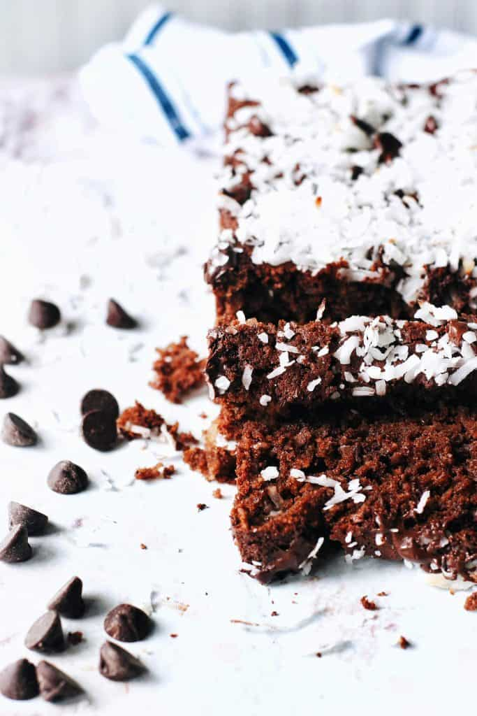 slices of chocolate coconut bread