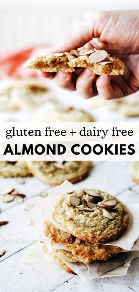 This easy gluten free almond cookie recipe is made with Almond Flour and is also totally dairy free! A delicious soft and chewy sugar cookie with almond flavoring.