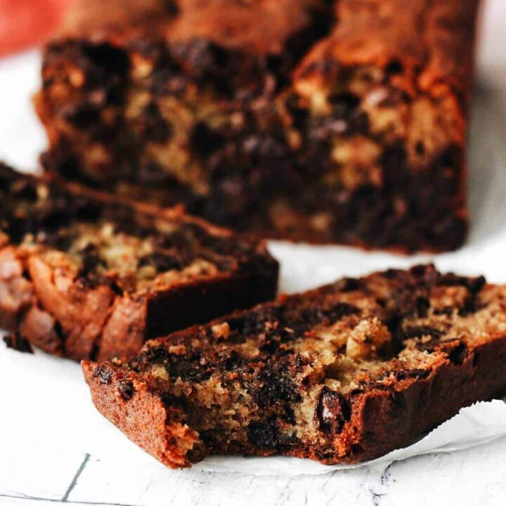 gluten free chocolate chip banana bread with a bite out of it