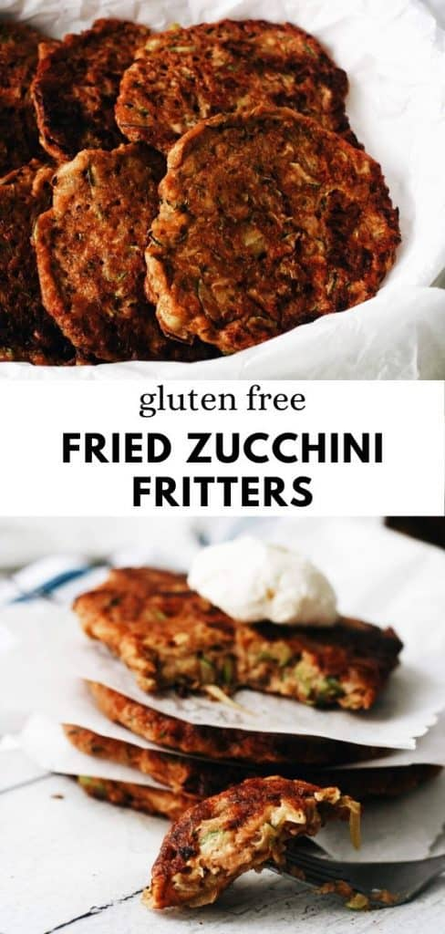This fried zucchini fritter recipe is so easy to make, completely gluten free, and so YUMMY! The best zucchini recipe.