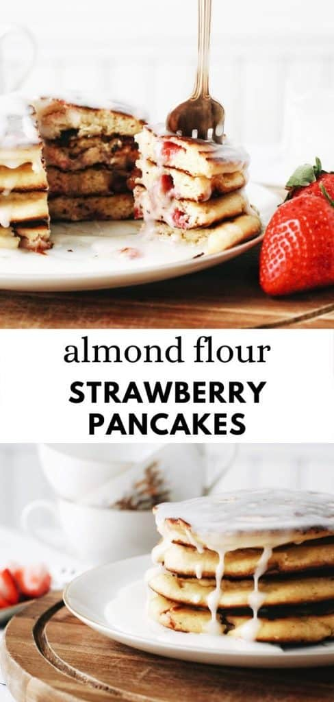 These strawberry almond flour pancakes are the best, easy, fluffy pancakes ever! A healthy pancake recipe with Greek yogurt and strawberries mixed in.