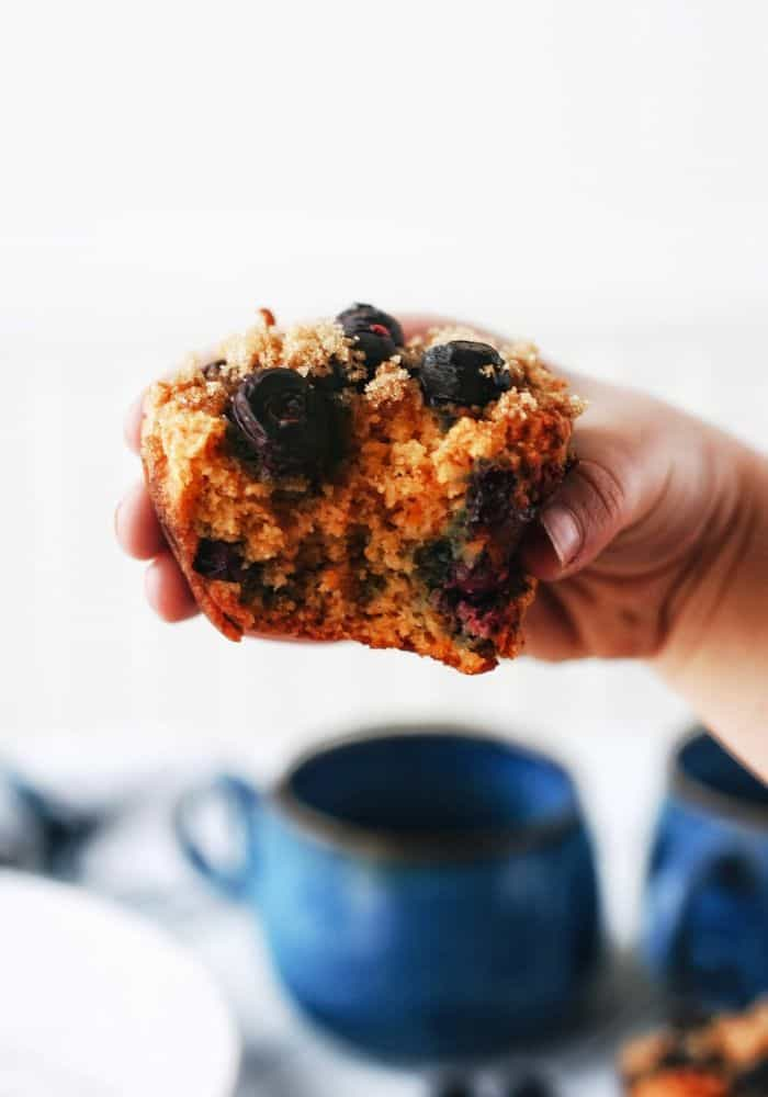 hand holding up a muffin with a bite in it