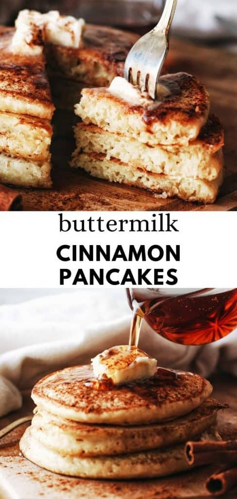 these super fluffy cinnamon pancakes are so delicious and made with a homemade buttermilk and loads of cinnamon flavor. Pinterest pin.