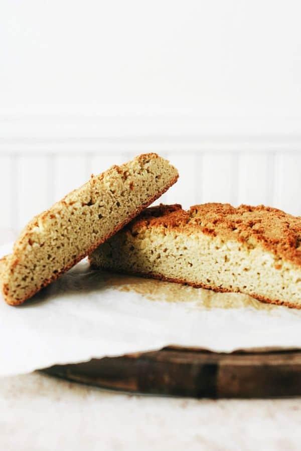 cut open almond flour bread