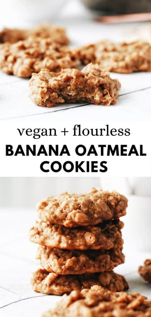 These healthy, easy to make, 4 ingredient, banana oatmeal cookies with peanut butter are amazing! Soft, chewy, healthy, vegan, and gluten free and flourless. So good!