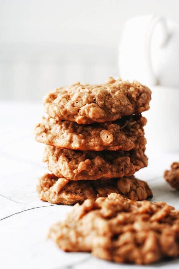 stack of 4 banana oatmeal cookies