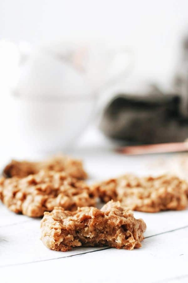 a banana oatmeal cookie with a bite taken out of it
