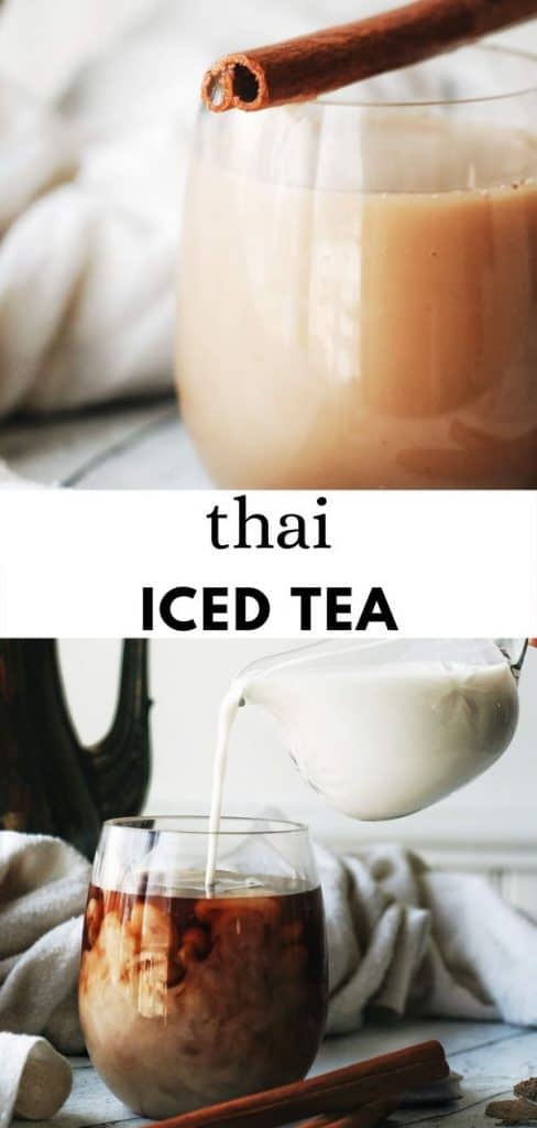 This super easy, homemade, Thai iced tea recipe is made with tea bags, spices, and your milk of choice and is so delicious! Perfect for summer and the best drink recipe. pinterest pin