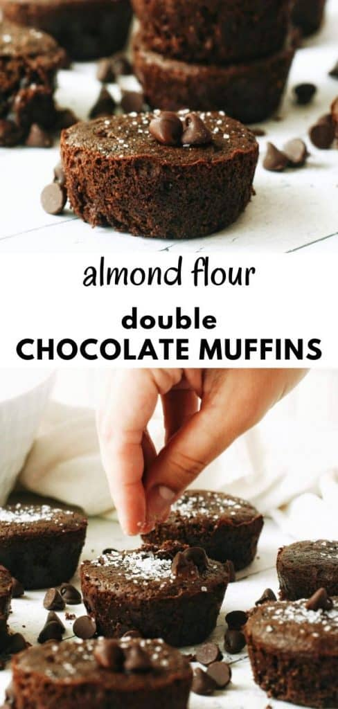 These super easy to make, healthy double chocolate muffins are made with almond flour and extra chocolate chips. So yummy! Perfect for snacking or breakfast. pinterest pin.