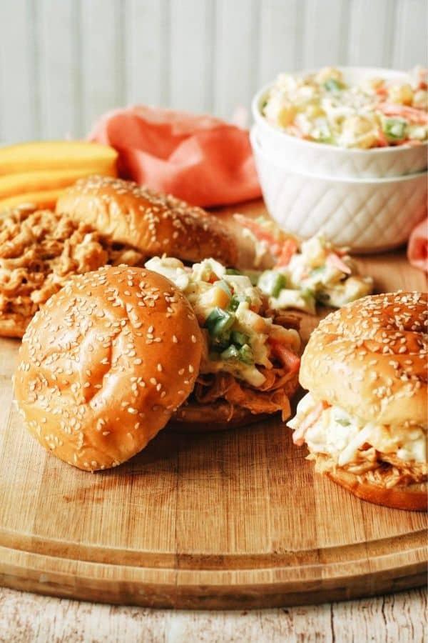 making bbq chicken sandwiches