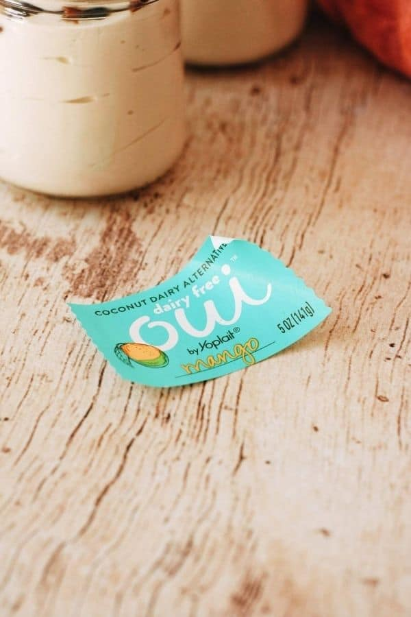 sticker from a yogurt jar
