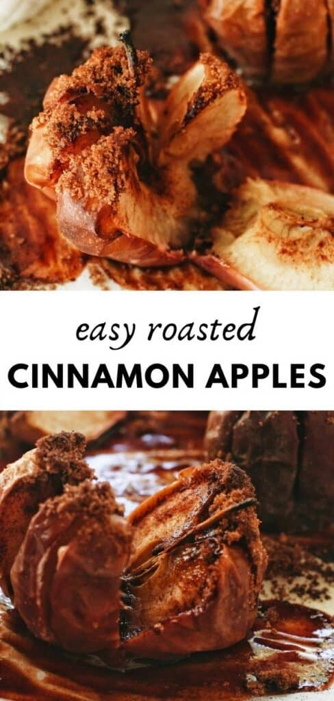 This delicious, healthy, easy, perfectly Autumn/Fall weather recipe for baked cinnamon apples is the best! Only 3 ingredients, sweet, and aromatic. pinterest pin