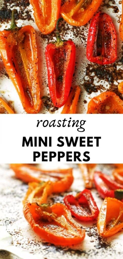 These delicious roasted sweet mini peppers are perfect for an easy and quick snack or side dish. Roasted and seasoned and only a few minutes of prep work needed! pinterest pin
