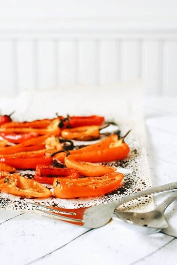 Roasted peppers on parchment paper