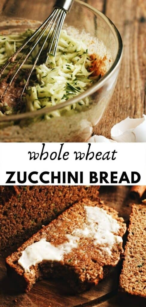 This amazing whole wheat zucchini bread is moist and soft with loads of cinnamon and nutmeg flavoring. Not too sweet, with maple syrup as its sweetener. Hope you enjoy!