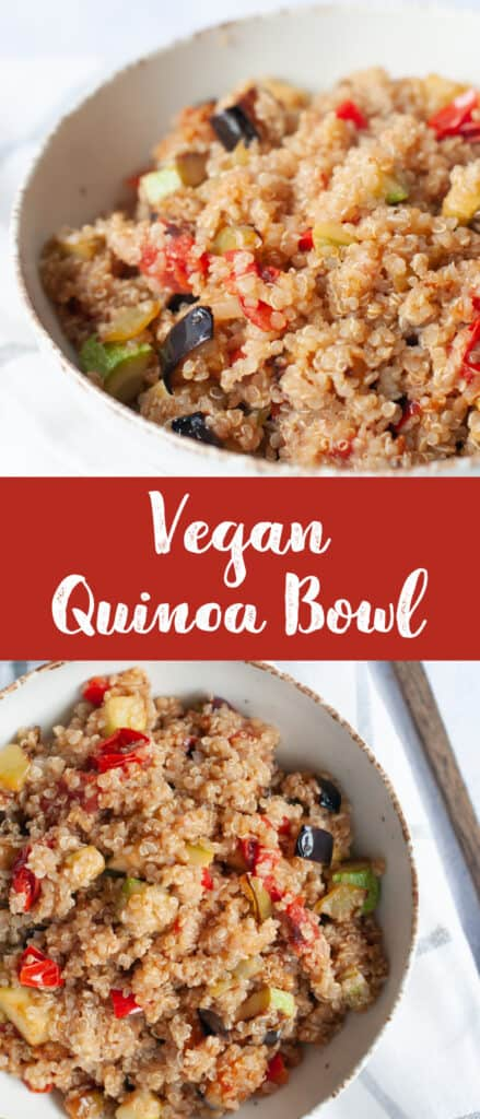 Collage of two photos of vegan quinoa bowl