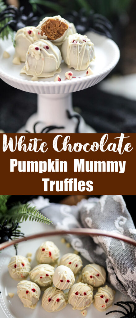 white chocolate mummy truffles collage with truffles on a white plate