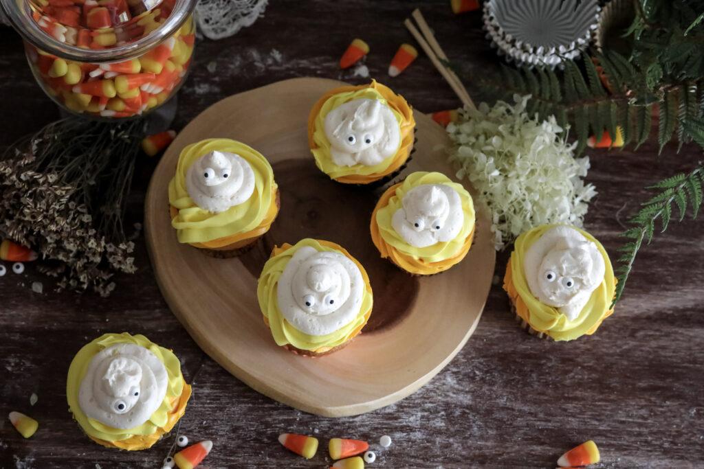 horizonal above photo of Halloween cupcakes