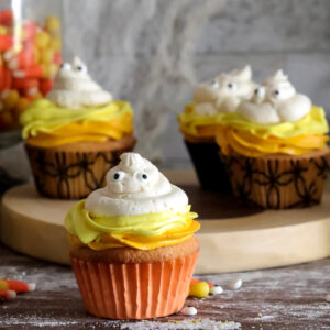 gluten free candy corn ghost cupcakes