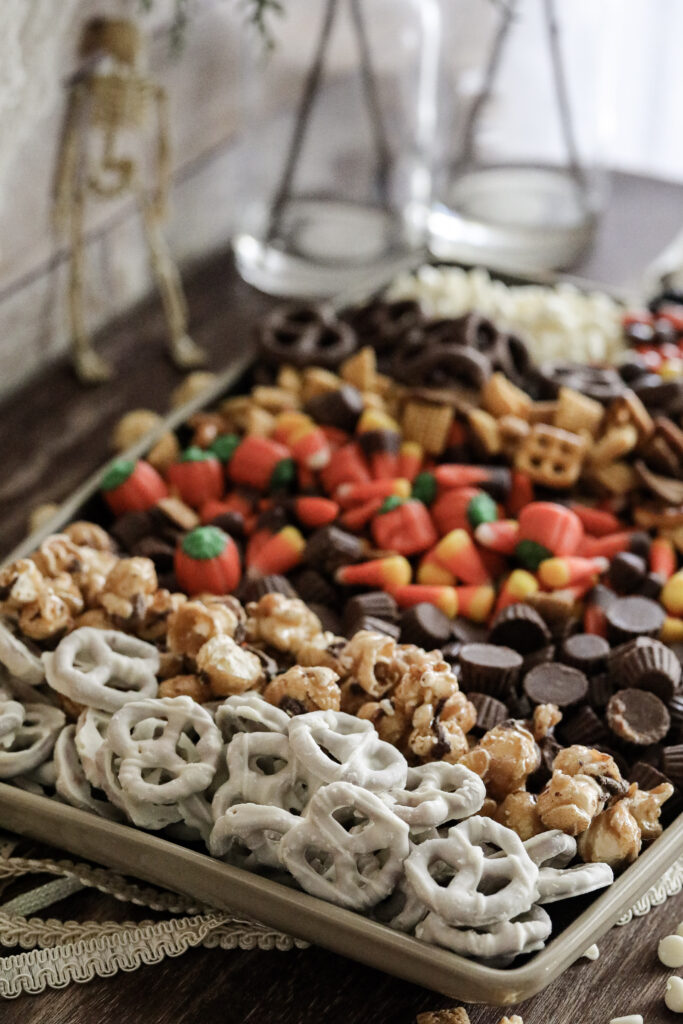 close up of halloween trail mix on a cookie sheet